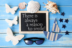 Blackboard With Maritime Decoration And Quote Always Reason To Smile Royalty Free Stock Photo
