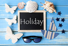 Blackboard With Maritime Decoration And Text Holiday Royalty Free Stock Image