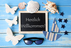 Blackboard With Maritime Decoration, Willkommen Means Welcome Stock Images
