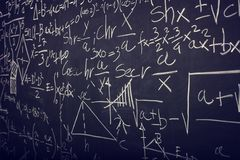 Blackboard with math formula Royalty Free Stock Photos