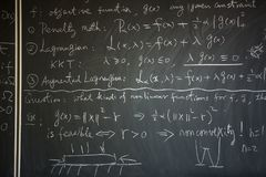 Blackboard with math lesson. Written on it royalty free stock photo