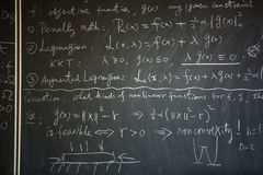 Blackboard with math lesson royalty free stock photos