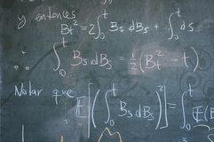 Blackboard. Mathematical formula on university blackboard, mathematics study Royalty Free Stock Images