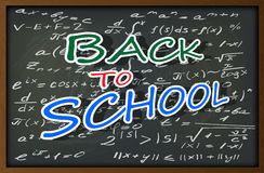 Blackboard with mathematical formulas and inscription back to school. The background image in the form of a school blackboard with chalk stains and drawings on Vector Illustration