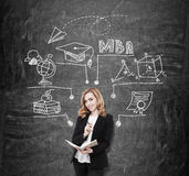 Blackboard MBA sketch and girl. College teacher standing near blackboard with MBA sketch on it. Concept of business education importance for career Royalty Free Stock Image