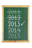 Blackboard med år Royaltyfria Bilder