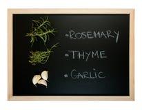 Blackboard med kryddor som isoleras på white Arkivfoto