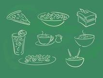Blackboard menu. Restaurant menu items on blackboard Royalty Free Stock Photos