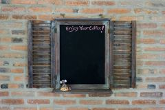 Blackboard for menu on the bar with tissue. copy space for text. Stock Images