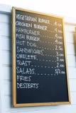 Blackboard menu. Close up of a blackboard menu outside a cafe in Corralejo Fuerteventura Royalty Free Stock Images