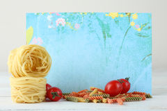 Blackboard menu. With food on a light background Royalty Free Stock Images