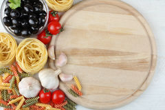 Blackboard menu. With food on a light background Royalty Free Stock Photography