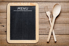 Blackboard menu and fork and spoon Stock Photos