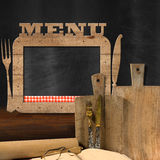 Blackboard Menu in the Kitchen Stock Photography
