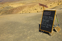 Blackboard menu of a spanish beach bar Stock Images