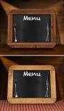Blackboard Menu on the Table Stock Photo
