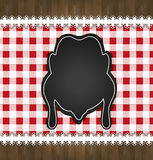Blackboard menu tablecloth lace chicken. Template Stock Image