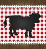 Blackboard menu tablecloth lace cow bull Royalty Free Stock Images