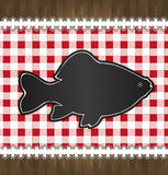 Blackboard menu tablecloth lace fish Royalty Free Stock Image