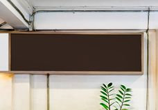 Blackboard menu wooden frame on cement Royalty Free Stock Images