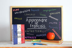 Blackboard with the message LEARN FRENCH Royalty Free Stock Photo