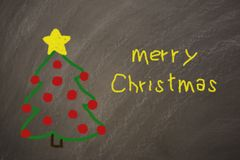 Blackboard with the message merry christmas royalty free stock photo