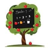 Blackboard nature nursery apple tree. Royalty Free Stock Photo