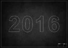 Blackboard with 2016 new year. Drawing with chalk Stock Photos