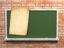 Blackboard with old paper for notes Stock Photography