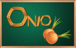 A blackboard with an onion Royalty Free Stock Image