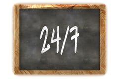 Blackboard OPEN 24/7. A Colourful 3d Rendered Illustration of a Blackboard Showing Open 24/7 Stock Photo