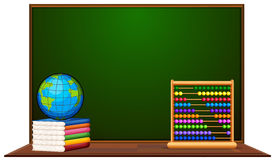 Blackboard and other school items. Illustration Stock Photos