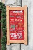 Blackboard outside an open italian restaurant and menu Royalty Free Stock Photography