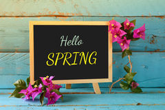 Blackboard over blue wooden shelf with the phrase HELLO SPRING Stock Photography