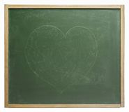 Blackboard with painted heart shape Stock Photography