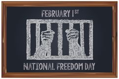 Chalk letter National Freedom Day. On the blackboard painted prison bars to the National Freedom Day February 1st Stock Photography