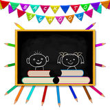 Blackboard, pensils, flags Royalty Free Stock Images