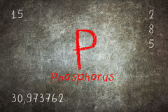 blackboard with periodic table, Phosphorus Stock Images