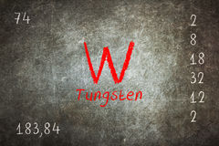 blackboard with periodic table, Tungsten Royalty Free Stock Images