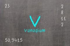 blackboard with periodic table, Vanadium Stock Photos