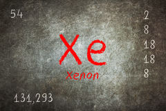 blackboard with periodic table, Xenon Stock Photo