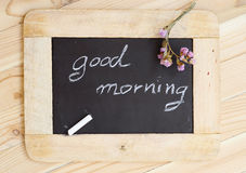 Blackboard with the phrase good morning Royalty Free Stock Images