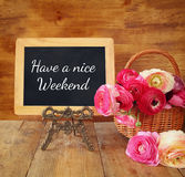 Blackboard with the phrase have a nice weekend Royalty Free Stock Photos
