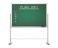 Blackboard with the Phrase Plan 2017. 3d Rendering. Blackboard with the Phrase Plan 2017 on a white background. 3d Rendering Stock Image