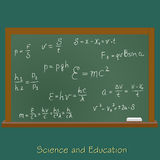 Blackboard with physics equation, vector, illustration Royalty Free Stock Photography