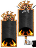 Blackboard for Pizza Menu. Two empty blackboards with wooden frame and text Pizza, flames and slices of pizza. Template for a pizza menu isolated on white Stock Photo