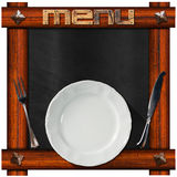 Blackboard with Plate and Cutlery Stock Photos