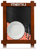 Blackboard with Plate and Cutlery Royalty Free Stock Images