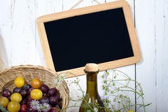 Blackboard with  plum Royalty Free Stock Photo