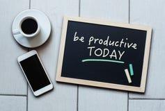 Blackboard pojęcia mówić Był Produktywny Dzisiaj Obraz Stock